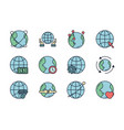 world map global icons set line filled vector image