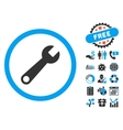 Wrench Flat Icon with Bonus vector image vector image