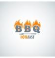 barbecue fire logo design background vector image