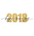 2018 happy new year numbers golden glitter design vector image