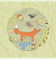 autumn hand drawn concept with fox vector image