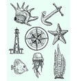 ink hand drawn style marine set vector image