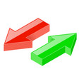 3d arrows green and red icons vector image vector image