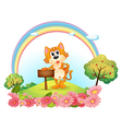A cat at the hill holding an empty wooden vector image vector image