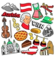 Austria Travel Scrapbook Stickers Patches Badges vector image vector image