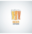 beer glass logo design background vector image