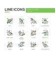Birds - line design icons set vector image vector image