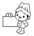 black and white happy cook mascot is promoting a vector image vector image