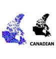 blue circle mosaic map canada vector image