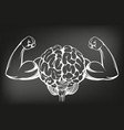 brain with strong hands training icon vector image vector image