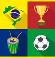 brazil sun drum cup soccer summer time vector image vector image
