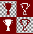 champions cup sign bordo and white icons vector image vector image