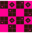 Chessboard Pink Blown Heart Valentine vector image
