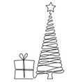christmas tree one line drawing vector image vector image