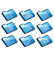 collection of icons - set of blue folder icons iso vector image vector image