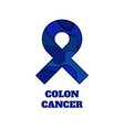colon cancer awareness papercut ribbon vector image vector image