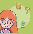 cute school student girl vector image