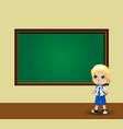 cute schoolboy in uniform standing near vector image vector image