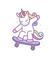 cute unicorn playing skate board ready for print vector image