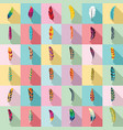 feather icon set flat style vector image
