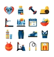 Fitness Flat Color Icons Set vector image vector image