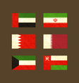 Flags of UAE Iran Bahrain Qatar Kuwait and Oman vector image