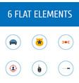 flat icons officer emblem police car walkie vector image vector image