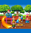 happy excited kids having fun together on playgrou vector image vector image