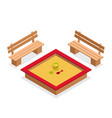 isometric sandbox with toys and benches vector image vector image