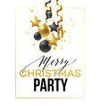 merry christmas card with gold and black balls vector image vector image