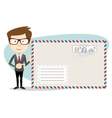 Office worker stands near a large mailer envelope vector image