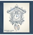 old retro cuckoo clock postcard vector image vector image