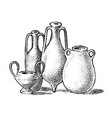 pottery ancient greece greek clay pots or vector image vector image