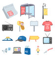 production of advertising cartoon icons in set vector image vector image