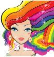 rainbow hair vector image vector image