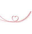 red heart shape on circle ribbon vector image vector image