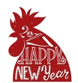 Red rooster symbol of 2017 Greeting card for New vector image