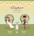 rustic bohemian cartoon couple wedding invitation vector image vector image