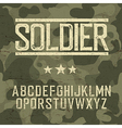 Soldier alphabet Military deisgn set Army design vector image vector image