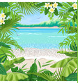 summer background with tropical frame on seaside vector image