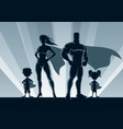 superhero family silhouettes vector image vector image