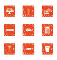 survey of chemistry icons set grunge style vector image vector image