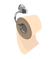 toilet paper on metal paper holder vector image vector image