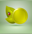 two yellow style leaves and ladybird label with vector image vector image