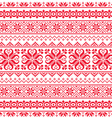 Ukrainian Belarusian red embroidery seamless patt vector image vector image