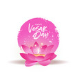 vesak day card pink lotus flower and candle vector image vector image