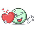 with heart drug tablet mascot cartoon vector image