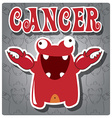 Zodiac sign Cancer with cute colorful monster vector image
