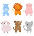 cute set of zoo animals vector image