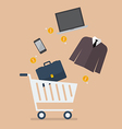 add men clothing and accessories into cart vector image vector image
